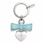 พวงกุญแจ COACH F65740 SV/TU Blue Patent Leather Bow And Silver Heart