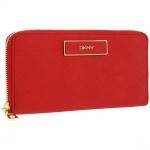 พร้อมส่ง EMS : กระเป๋าสตางค์ DKNY Saffiano Leather Zip arround wallet Maagenta517