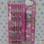ชุดดินสอสีไม้ 12 สี ฮัลโหลคิตตี้ Hello kittyในชุดมีดินสอสีไม้ 12 แท่ง ยางลบ 1 ก้อน กบเหลา 1 อัน ไม้บรรทัด 1 อัน