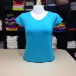 """เสื้อยืดคอวี สีฟ้าหวาน size """"M"""""""