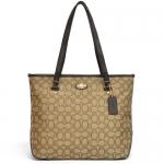 สินค้าพร้อมส่ง » กระเป๋า Coach F36185 Outline Signature Zip top Tote Shoulder Bag Brown สีน้ำตาล