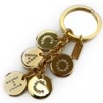 พวงกุญแจ COACH F69939 GD/CY Letters Pave Crystal Charm Mix Key Chain Ring FOB