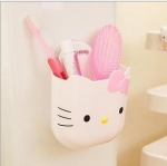 ที่ใส่แปรงสีฟันยาสีฟันในห้องน้ำ แบบจุ๊บติดผนัง ฮัลโหลคิตตี้ Hello kitty ขนาดกว้าง 7 ซม. * ยาว 12.5 ซม. * สูง 10 ซม.