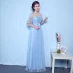 ชุดราตรียาวออกงานสีฟ้า ซีทรูหน้าอกผ้าถักคอกลม