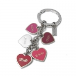 พวงกุญแจ COACH F66398 SV/MC Pink Valentine Enamel Heart Mix Charms