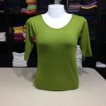 """เสื้อยืดแขน3ส่วน size""""M"""" สีเขียวไพร"""