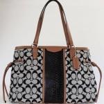 สินค้าพร้อมส่ง » กระเป๋า Coach F29863 IMB2M Signature Stripe Snake Drawstring Carryall/Handbag
