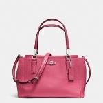 สินค้าพร้อมส่ง » กระเป๋า Coach F34797 SVDJ7 Crossgrain Leather Mini Christi Purse Handbag Sunset Red/ Pink