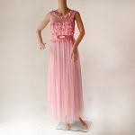 เดรสยาวออกงานสีชมพู ปักดอกไม้มุก ปักดอกไม้มุกรอบคอ หน้าอกผ้าตาข่ายซีทรู