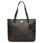 สินค้าพร้อมส่ง » กระเป๋า Coach F36185 SVDK6 Outline Signature Zip top Tote Shoulder Bag Black/Smoke สีดำ