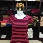 """เสื้อยืดคอวี ลายริ้วสีแดง-กรม size """"M"""""""
