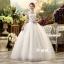 ชุดแต่งงานของเจ้าสาวยาวเวอร์ชั่นเกาหลีสีขาว คอจีนแขนกุดเว้าช่วงอก แต่งตัวชุดด้วยคริสตัล thumbnail 1