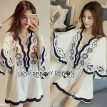 Lady Rachel Summery Classic Dark Blue and White Embroidered Dress